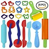 play dough 20 - GiBot Dough Tools, 20 Piece Assortments Large-size Pizza Dough Tools Modeling Dough Tools for Kids and Children, Large, Colorful and Non-toxic