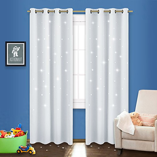 NICETOWN Stars Inspiration Curtain Panels - Sky Wonder Star Cut Out Functional Room Darkening Draperies for Bedroom/Living Room/Kid's Room, 52