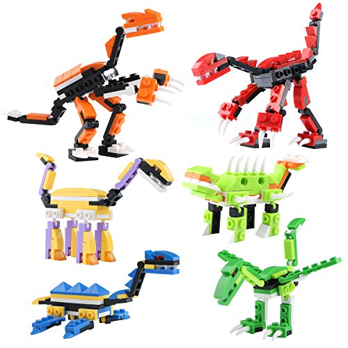 Kids Dinosaur Building Bricks Capsule Toy 6 pcs- Best Educational Gift for Boys and Girls Imagination Engineering (Animal Planet Raptor Dog Costume)