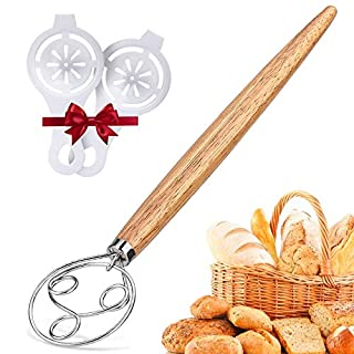 Danish Dough Whisk Bread Mixer - Upgraded 3 Ring Danish Dough Whisk large Stainless Steel 13.5 inch Wooden Handle Danish dough Whisks for cooking, Pastry, Pizza Dough, Perfect Baking Tool