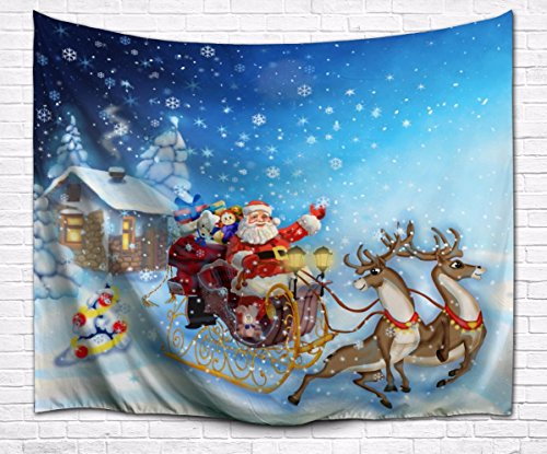 A.Monamour Christmas Holiday Theme Winter White Snow Santa Claus Reindeer Pulling The