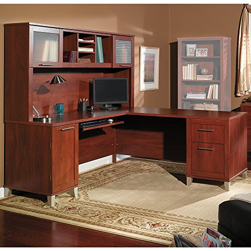 Somerset 71W L Shaped Desk with Hutch in Hansen Cherry by Bush Furniture