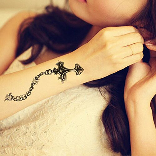 TAFLY Christian Cross Tattoos Temporary 3D Waterproof Body Art Fake Stickers Unisex 5 Sheets
