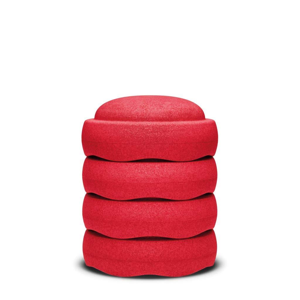 Unbekannt Stapelstein 4er Set rot   aus leichtem, stabilem und unbedenklichem Material (Partikelschaum)   Durchmesser  27 cm, Höhe 12 cm