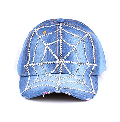 primerry Blue Fashion (Spider Web Point Drill Denim) Hip-Hop Baseball Cap Hat by primerry