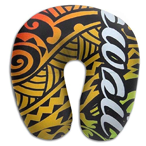 Impressions Foam Pillow Memory (Jsh2546eggh Memory Foam Neck Pillow,Hawaii Island Impressions Tribal Travel Pillow 11.8 X 11.8 in)