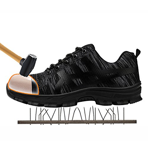 Unisex Steel Toe Work Shoes Industrial&Construction Shoes Puncture Proof Safety Shoes (10.5, All Black)