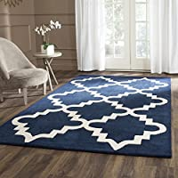 Safavieh Chatham Collection CHT753C Handmade Dark Blue and Ivory Premium Wool Area Rug (8 x 10)
