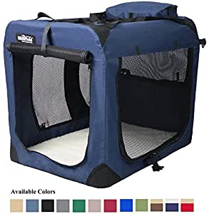 "EliteField 3-Door Folding Soft Dog Crate, Indoor & Outdoor Pet Home, Multiple Sizes and Colors Available (36""L x 24""W x 28""H, Navy Blue)"