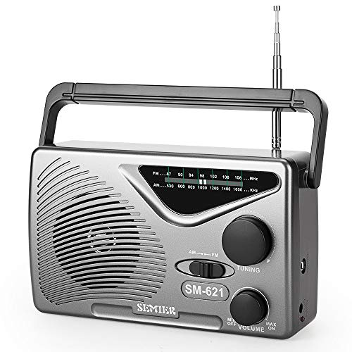 SEMIER AM/FM Portable Radio - Best Reception and Longest Lasting, Compact Transistor Radios AC Operated or Operated by Dry Battery (D Cell Batteries x 2pcs, Battery not Included)
