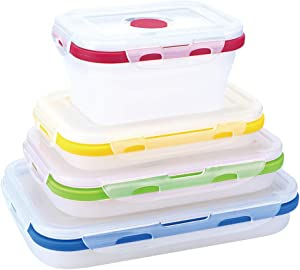 4 Pack Food Storage Container with Lids,Collapsible Silicone Food Preserving Storage Boxes,Bento Lunch Boxes,BPA Free,Oven Microwave Freezer and Dishwasher Safe (Different Capacity)