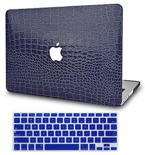 "KECCLaptopCaseforMacBookAir13""Retina(2020,TouchID)w/KeyboardCover Italian Leather CaseA21792in1Bundle(Navy Crocodile Leather)"