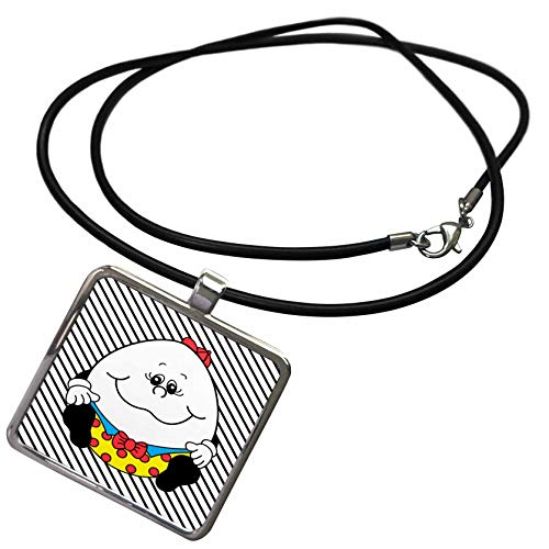 3dRose Lens Art by Florene - Childrens Art IV - Image of Humpty Dumpty On Black and White Stripes - Necklace with Rectangle Pendant -