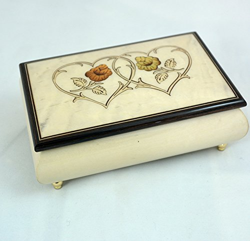 Sorrento Inlaid Music Box (Made in Italy Sorrento Inlaid Heart Duo Creme Jewelry Music Box - Cannon in D (Sankyo)