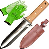 Vivero Home Multi-Purpose Japanese Hori Hori Garden Knife + Garden Gloves + Leather Sheath. Stainless Steel Blade with Handguard. Garden Tool for Gardening, Landscaping, Digging, Weeding, Camping