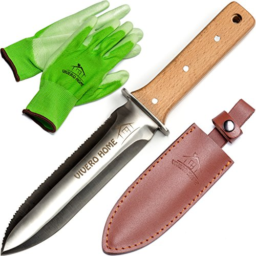 Vivero-Home-Exclusive-Set-Multi-Purpose-Japanese-Hori-Hori-Garden-Knife-Bamboo-Gloves-Leather-Sheath-Stainless-Steel-Blade-Handguard-Garden-Tool-for-Gardening-Landscaping-Digging-Weeding