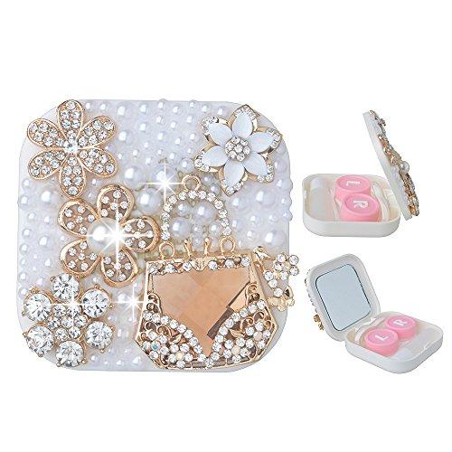 KAKA(TM) Fashion Box Kit 3D Handmade Rhinestone Bling Crystal Design Golden Flower Decorated White Mini Contact lenses Case