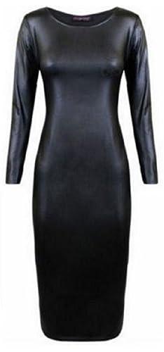 Nuovo donna effetto bagnato Longs manica vestito longuette donna ecopelle Stretch Bodycon taglia 8–26