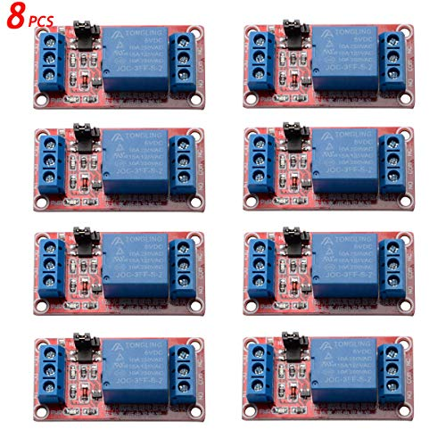 8 pcak 5v 1 Channel Relay Board Module High/Low Level Trigger with Optocoupler for Arduino Raspberry