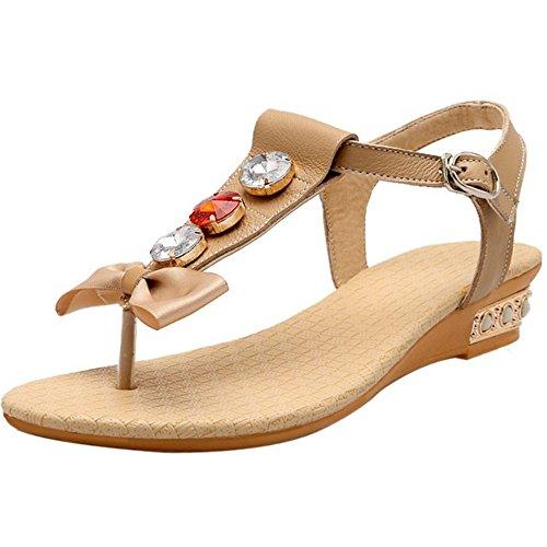 COOLCEPT Damen Mode T-Spangen Sandalen Slingback Niedrig Keilabsatz Schuhe Mit Bogen Aprikose