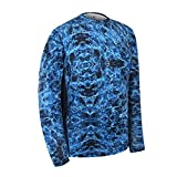 Performance Fishing Shirt Aqua Design UPF 50 Dri Fit Men's Long Sleeve Shirt UV Sun Protection Quick Dry Mesh Side Loose Fit