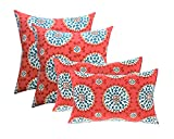 Set of 4 Indoor / Outdoor Pillows - 17'' Square Throw Pillows & Rectangle / Lumbar Decorative Throw Pillows - Red, Coral, Turquoise Sundial