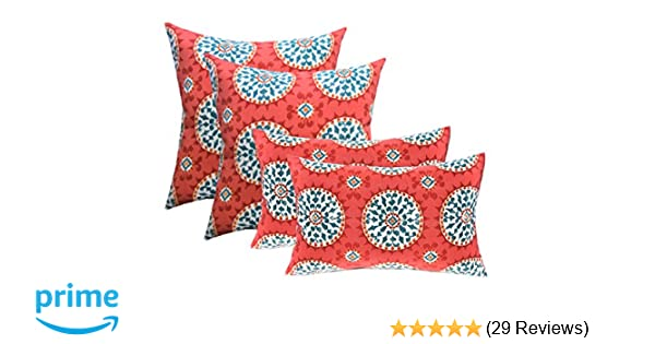 Amazon Com Set Of 4 Indoor Outdoor Pillows 17 Square Throw