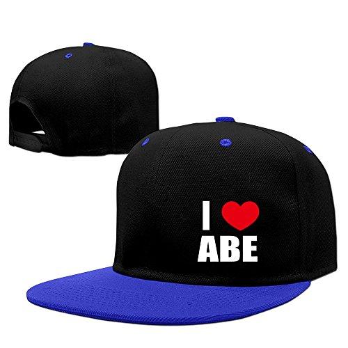 i-love-abe-i-love-abraham-heart-contrast-color-flat-bill-hat-royalblue