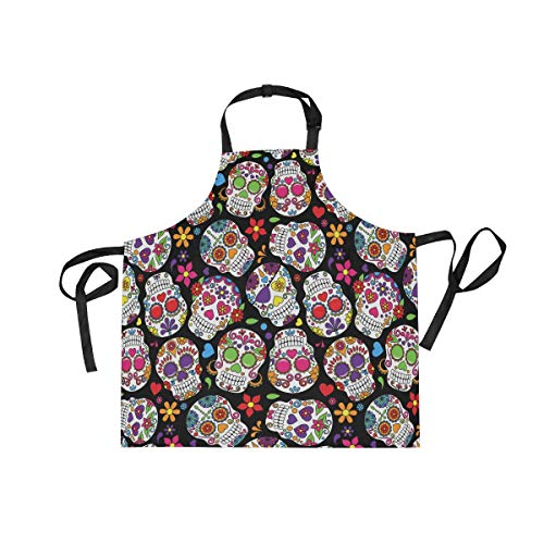 Day of The Dead Sugar Skull Adjustable Bib Apron Anti Oil Splash with 2 Pockets Cooking Kitchen Aprons for Women Men Chef - Dead Apron