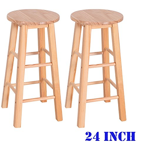 TimmyHouse Home Furniture Bar stools Dining Room Kitchen Round Seat Chair Wooden Set Of 2 (Bench Rattan Asda)