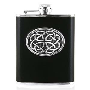 English Pewter Company 6oz piel petaca con Celtic peltre insignia