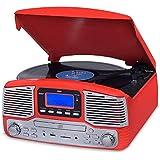 Vitrola Jazz Vermelha Com Fm, Cd, Usb, Sd, Bluetooth, Bivolt, Raveo, Jazz Vermelho,