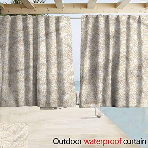 MaryMunger Custom Curtain Cream Retro Wedding Theme Flowers Energy Efficient, Darkening W55x72L Inches