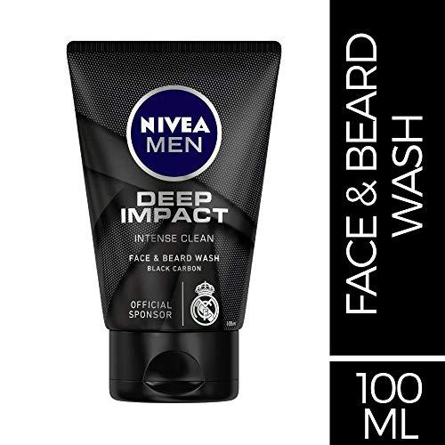 Nivea Men Deep Impact Intense Clean Face and Beard Wash - Black Carbon, 100 ml (3.3 oz)