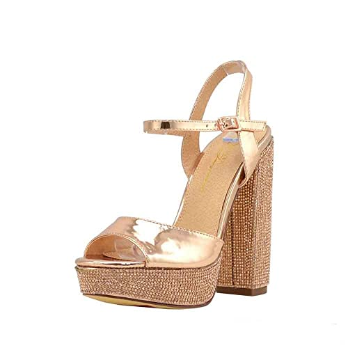 5e4199fdcdb Olivia and James Women's Open Toe Ankle Strap Embellished Rhinestone  Covered Platform Chunky Block Heel Sandal Shoes