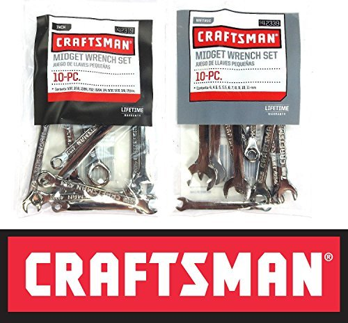 Craftsman 20 Piece Standard SAE & Metric MM Midget Ignition Wrench Set