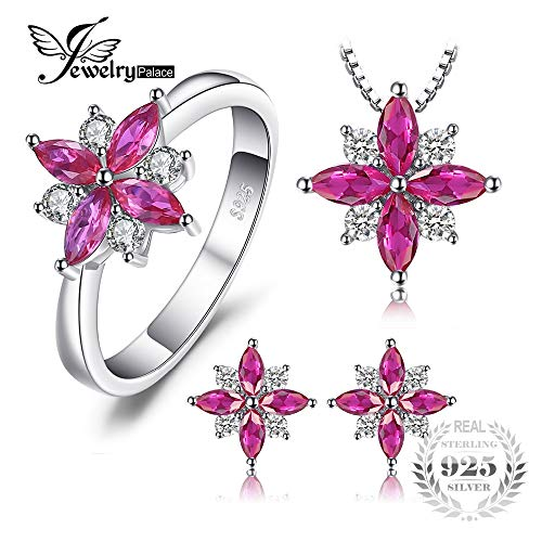 LTH12 Jewelry Sets - Flowers 2.6ct Created Ruby Stud Earrings Pendant Necklace Ring Jewelry Sets 925 Sterling Silver 45mm Jewelry Set 1 PCs