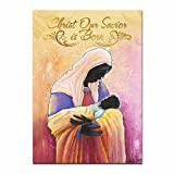 African American Expressions Christ Our Savior is Born Boxed Christmas Cards, 5'' x 7'', Pink/Orange/Black, 24 Piece