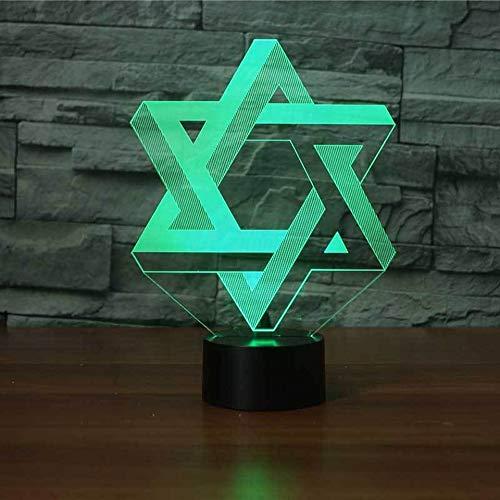 HIOJDWA Night Light 3D Star of David Modelling Nightlight Led 7 Colors Mood Table Lamp USB Bedroom Bedside Sleep Light Fixture Home Decor Kids Gifts