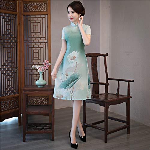 Qipao da in al donna Black stile cheongsam Abito ginocchio abito cinese lunghezza Reveryml orientale vestito Donna tradizionale cinese Y6qvEx