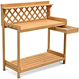 Yaheetech Solid Natural Finish Greenhouse Wooden Garden Potting Bench Review