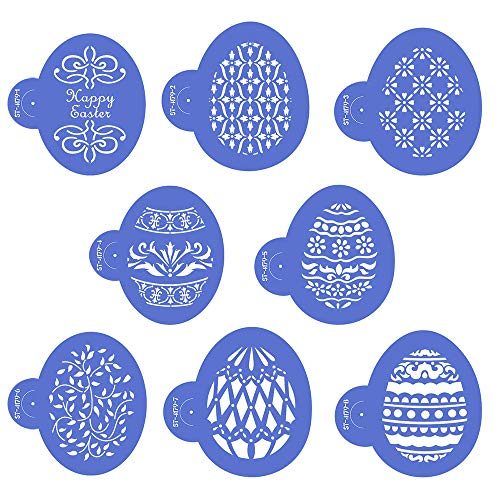 - AK ART KITCHENWARE Easter Egg Cookie Stencils Set Plastic Decorating Stencil for Royal Icing 8pcs