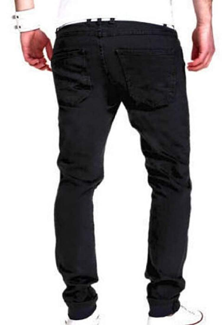 Pandapang Mens Cut Off Modern Faded Straight Slim Fit Distressed Pants