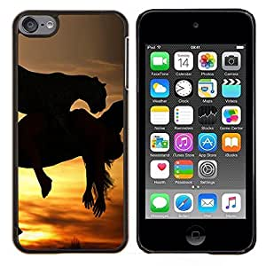- STALLION MUSTANG SUNSET HORSES GALLOPING - Caja del tel¨¦fono delgado Guardia Armor- For Apple iPod Touch 6 6th Generation Devil Case