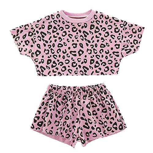 Kids ToddlerBaby Girls Shorts Outfits Set Leopard Print Ruffle Dress T-Shirt Tops+Short Pants 2Pc Summer Clothes Set (Pink, 3-4 Years)]()