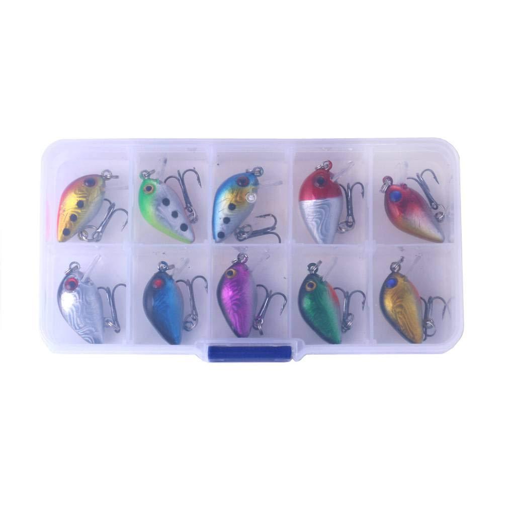 Set Mini atraer a la Pesca 3cm 1,5 g Wobbler de la Pesca Anzuelo Cebo se/ñuelo Artificial swimbait Peces de Agua Salada Falso F-blue 10pcs