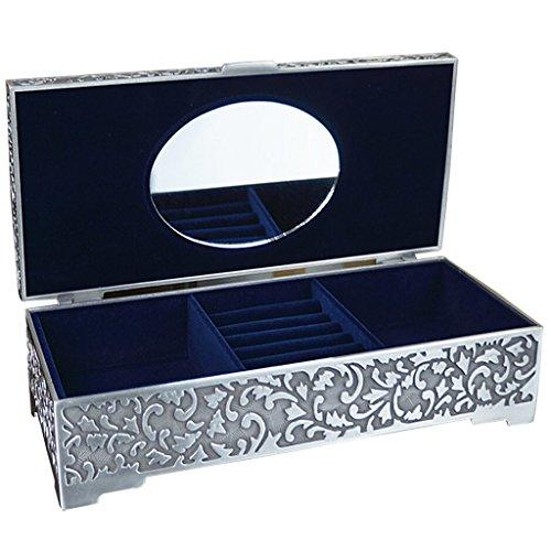 Unendlich U Klassisch Titan Apollo Rose Gravur Antiken Silbern Damen Metalllegierung Schmuckkoffer Schmuckkasten Schmuckkästchen-Groß