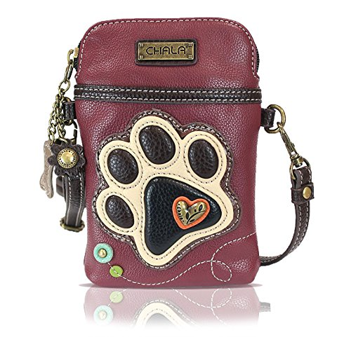 Chala Crossbody Cell Phone Purse - Women PU Leather Multicolor Handbag with Adjustable Strap - Ivory Paw - Maroon