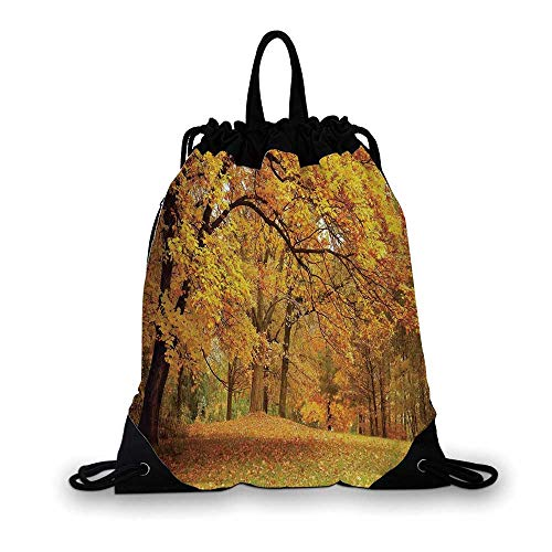 Farm House Decor Nice Drawstring Bag,Gold Fall Scenery with Pale Maple Leaves in the Forest November Season Woodlands For hiking,7.4
