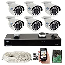 8 Channel H.265 4K NVR 4MP Home Surveillance Security Camera System with 6 x 4.0MP 1520p Weatherproof Day Night Bullet POE IP Cameras, Power over Ethernet (3TB HDD)